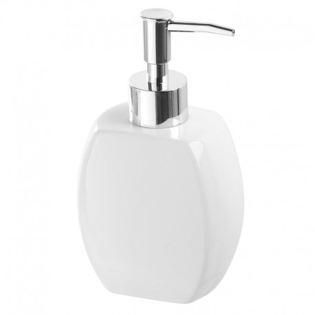 Dispenser sapone in ceramica bianca con erogatore cromato