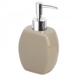 Dispenser sapone in ceramica tortora con erogatore cromato