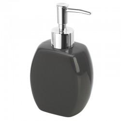 Dispenser sapone in ceramica grigia con erogatore cromato