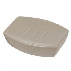 Porta sapone da appoggio in ceramica rettangolare color tortora