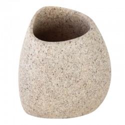 Porta spazzolino da appoggio in poliresina effetto pietra colore sabbia
