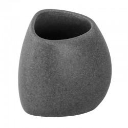 Porta spazzolino da appoggio in poliresina effetto pietra colore grigio