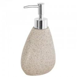 Dispenser da appoggio in poliresina effetto pietra colore sabbia