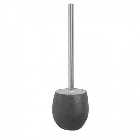 Portascopino d'appoggio a terra in poliresina e inox effetto pietra colore grigio