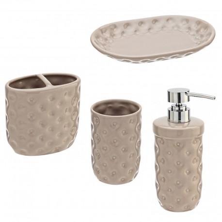 Set bagno 4 accessori in ceramica tortora Linea Florida