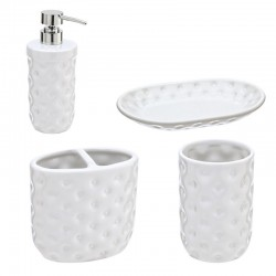 Set bagno 4 accessori in ceramica bianca Linea Florida