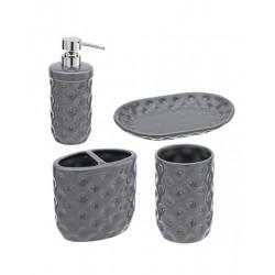 Set bagno 4 accessori in ceramica grigia Linea Florida