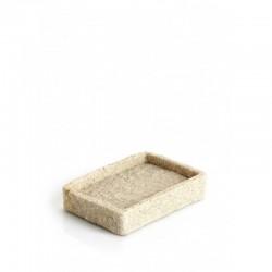 Porta sapone da appoggio in resina e sabbia colore beige effetto pietra