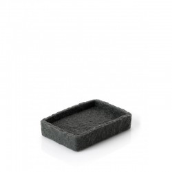 Porta sapone da appoggio in resina e sabbia colore antracite effetto pietra