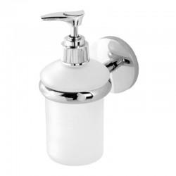 Porta Dispenser Per Sapone Liquido In Vetro Satinato E Metallo Cromato con con piastrina in acciaio antiruggine