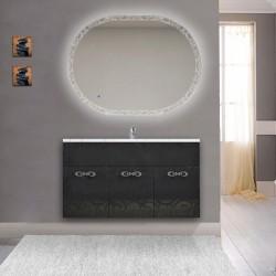 Mobile bagno Colorado da 100 cm sospeso nero lucido lavorazione a rilievo con specchio LED retroilluminato intarsiato ovale