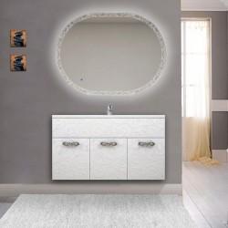 Mobile bagno Colorado da 100 cm sospeso bianco lucido lavorazione a rilievo con specchio LED retroilluminato intarsiato ovale