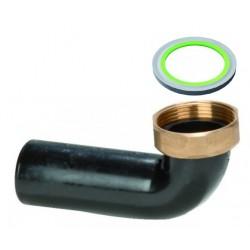 Codulo Curvo in Pehd con Dado in Ottone da 1''1/4 diametro 40 mm