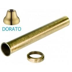 Tubo con cartella e dado dorato di diametro 32 mm