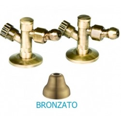 Coppia rubinetto sottolavabo a vitone con filtro e snodo in finitura bronzata