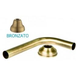 Tubo Curvo 90° per Cassetta Alta Wc cm 25x15 Diametro 30 mm con Rosone Ottone Bronzato