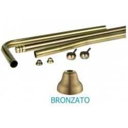 Serie tre tubi esterni in ottone bronzato per cassetta alta esterna