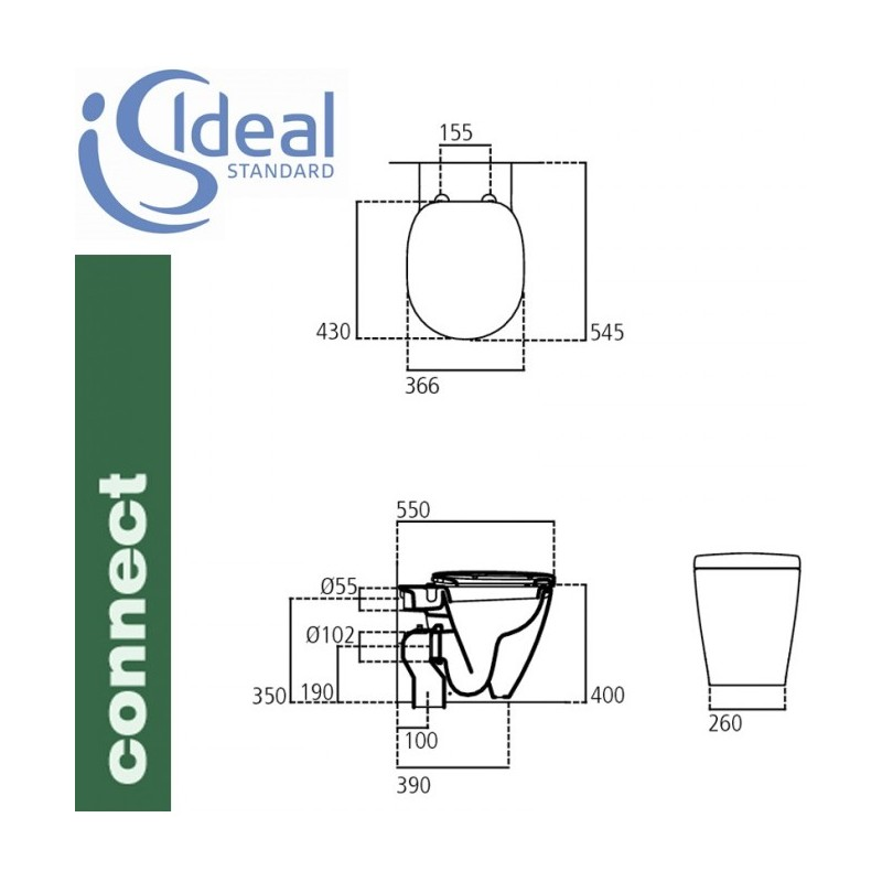 Ideal standard vaso connect filo parete for Ideal standard tesi scheda tecnica
