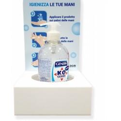 Espositore Porta gel igienizzante mani in pvc dimensione 15 x 15 x 30 cm