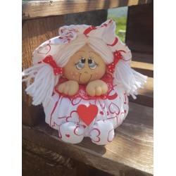 Bambola morbidosa realizzata a mano in tessuto di cotone made in italy
