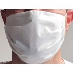Mascherina filtrante protettiva in 100% poliestere lavabile e riutilizzabile colore bianco