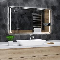Specchio da Bagno con Angoli Squadrati e Altoparlante Bluetooth + Orologio Retroilluminato led 20W art. spe432