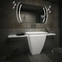 Specchio da Bagno con Angoli Squadrati Altoparlante Bluetooth + Orologio e Strisce Sabbiate Retroilluminate led 20W art. spe90