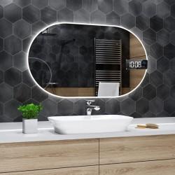 Specchio da Bagno Forma Ovale Retroilluminato led 20W + Altoparlante Bluetooth + Orologio art. spe436