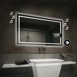 Specchio da Bagno con Angoli Squadrati Altoparlante Bluetooth + Orologio e Cornice Sabbiata Retroilluminata led 20W art. spe87