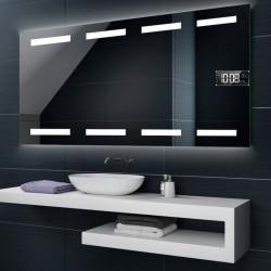Specchio da Bagno con Angoli Squadrati Altoparlante Bluetooth + Orologio e Disegno Sabbiato Retroilluminato led 20W art. spe101
