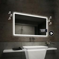 Specchio da Bagno con Angoli Squadrati Altoparlante Bluetooth + Orologio e Cornice Sabbiata Retroilluminata led 20W art. spe85