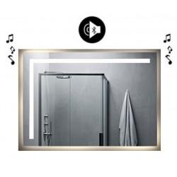 Specchio da Bagno con Angoli Squadrati Altoparlante Bluetooth e Disegno Sabbiato Retroilluminato led 20W art. spe87