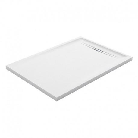 Piatto doccia Geberit serie Sestra 70 x 100 cm colore bianco effetto pietra sintetica con piletta di scarico inclusa