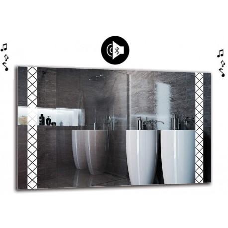 Specchio da Bagno con Angoli Squadrati Altoparlante Bluetooth e Disegno Sabbiato Retroilluminante led 20W art. spe98