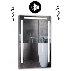 Specchio da Bagno con Angoli Squadrati Altoparlante Bluetooth e Disegno Sabbiato Retroilluminante led 20W art. spe302