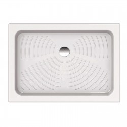 Piatto doccia 70x100 rettangolare in ceramica bianco Azzurra + Piletta Sifonata Diametro 60 mm.
