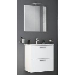 Mobile da bagno Miriam sospeso 60 cm bianco con specchio lampada led