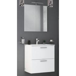 Mobile da bagno Miriam sospeso 60 cm bianco con specchio lampada led e altoparlante bluetooth