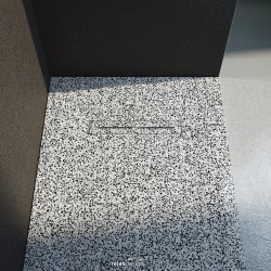 Piatto doccia Lito in luxolid Lapillus altezza 3 cm con piletta materica in tinta inclusa
