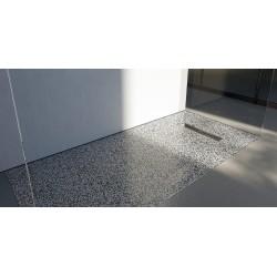 Piatto doccia Lito in luxolid Lapillus altezza 3 cm con piletta serigrafata in acciaio inox inclusa