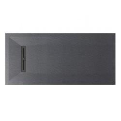 Piatto doccia Lito in pietra sintetica finitura ardesia altezza 3 cm con piletta serigrafata in acciaio inox inclusa
