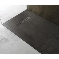 Piatto doccia Lito in pietra sintetica finitura cemento altezza 3 cm con piletta serigrafata in acciaio inox inclusa