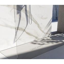 Piatto doccia Divo in luxolid altezza 3 cm con piletta materica in tinta inclusa