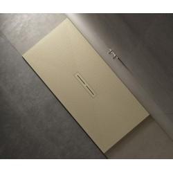 Piatto doccia Divo in pietra sintetica finitura puntinato 3D altezza 3 cm con piletta materica in tinta inclusa