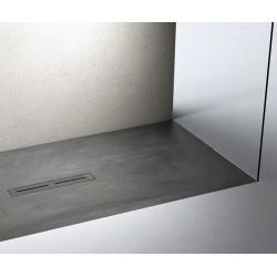 Piatto doccia Divo in pietra sintetica finitura cemento altezza 3 cm con piletta materica in tinta inclusa