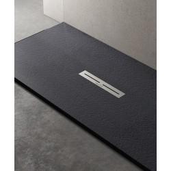 Piatto doccia Divo in pietra sintetica finitura ardesia altezza 3 cm con piletta serigrafata in acciaio inox inclusa