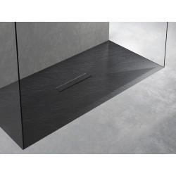Piatto doccia Tab in pietra sintetica finitura ardesia altezza 3 cm con piletta materica in tinta inclusa