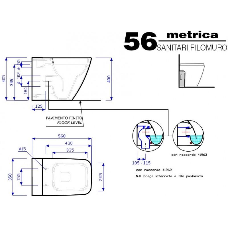 Pozzi ginori vaso metrica rimfree senza brida con sedile wc for Metrica pozzi ginori