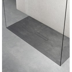 Piatto doccia Vesuvius Classic in pietra sintetica finitura cemento altezza 3 cm con piletta materica in tinta inclusa