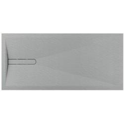 Piatto doccia Vesuvius outsider in pietra sintetica finitura roccia altezza 3 cm con piletta materica in tinta inclusa